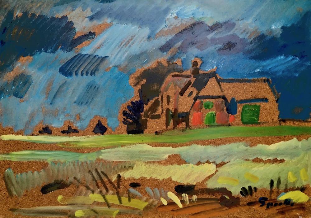 Siegward Sprotte, Das rote Haus, 1988, Öl auf Hartfaser, 53 x 75 cm