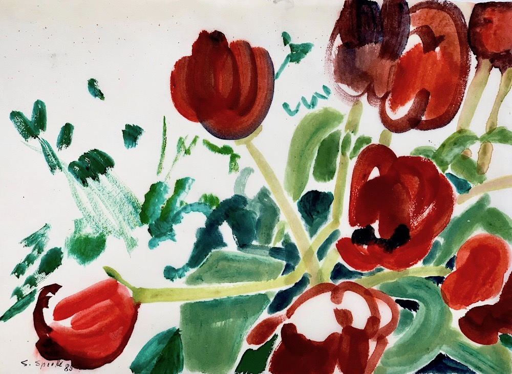 Siegward Sprotte, Tulpen, 1985, Gouache auf Pergament, 26,7 x 36,5 cm