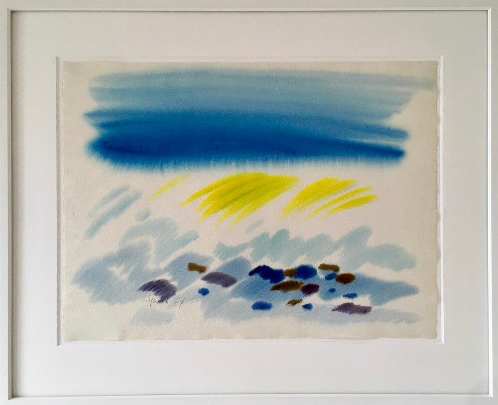 Siegward Sprotte, Für Herbert Read, 1964, Gouache auf englisch Bütten, 52 x 70,1 cm