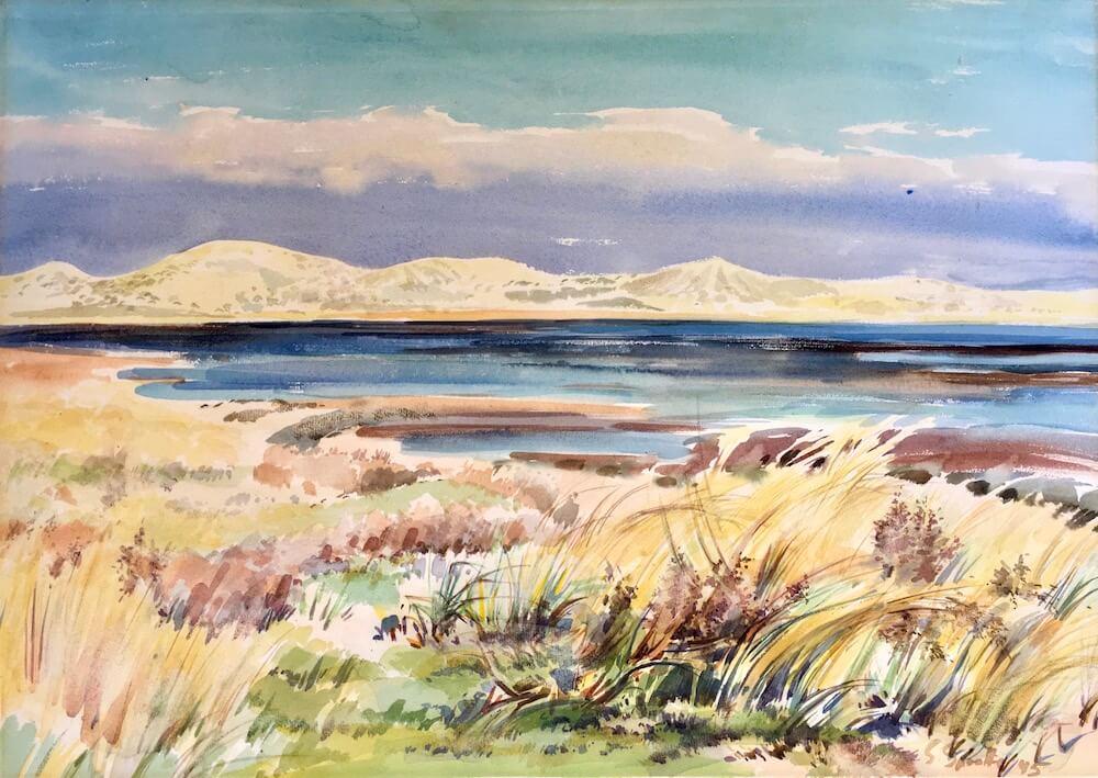 Siegward Sprotte, Herbstsonne überm Sylter Watt, 1945, Aquarell auf Papier, 38,5 x 53,8 cm