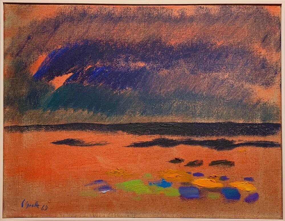 Siegward Sprotte, Kampen, 1969, Öl auf Leinwand, 55 x 71 cm