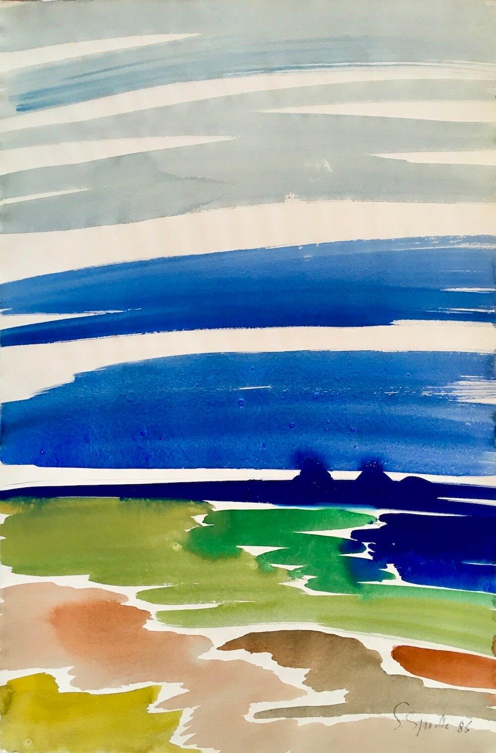 Siegward Sprotte, Zyklus Hohe Himmel, 1986, Aquarell auf Bütten, 78,5 x 52 cm