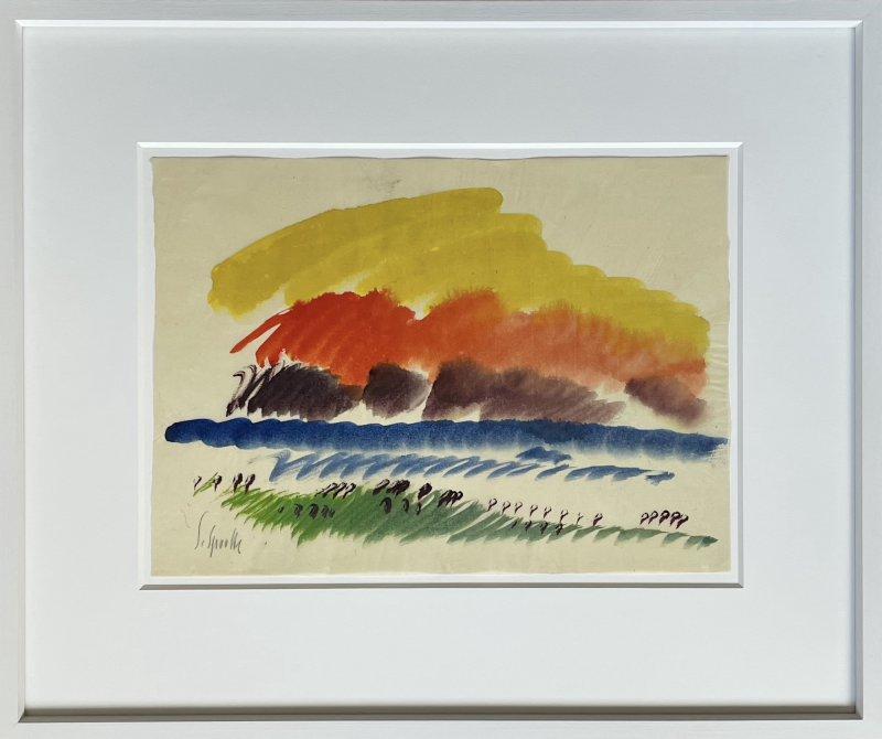 Siegward Sprotte, Rote Wolke II, Aquarell auf Pergament, 30,7 x 42,3 cm, m.R.